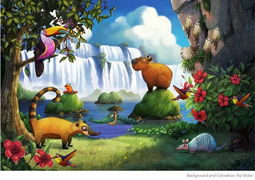 享受大自然的动物卡通
