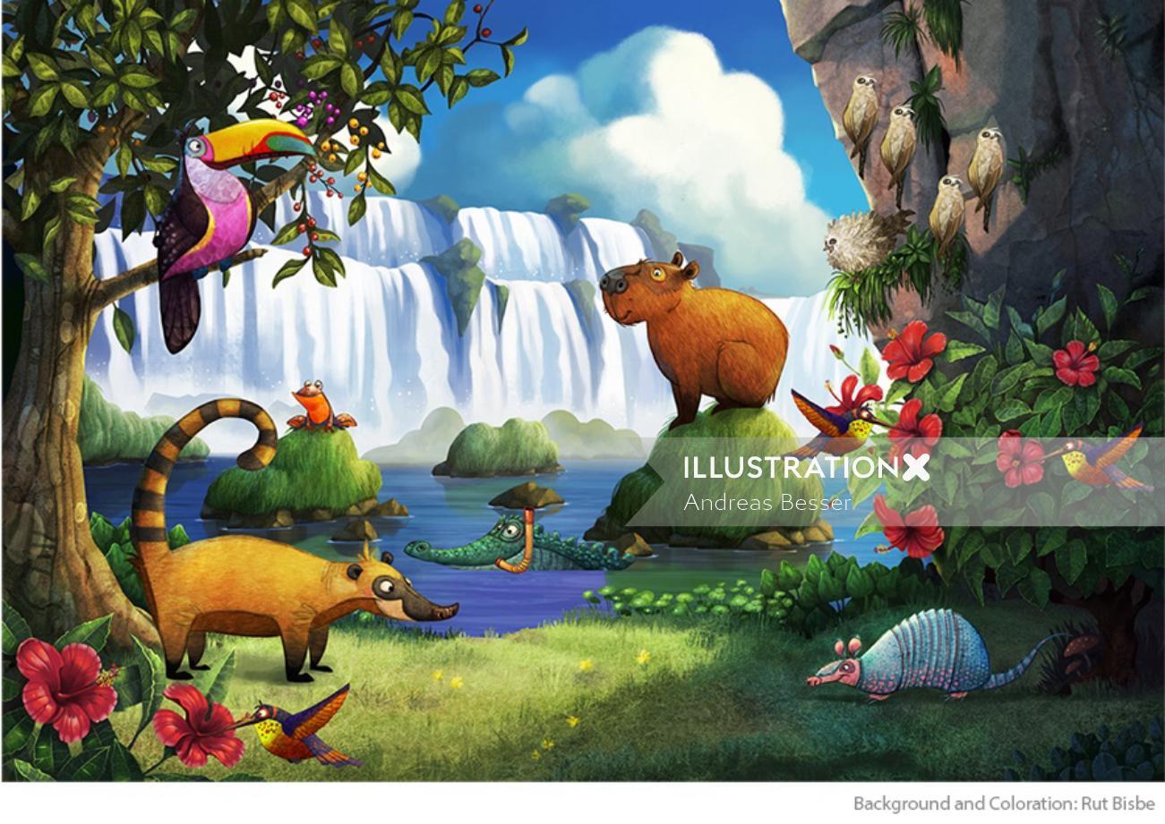 Cartoon of animals enjoying nature