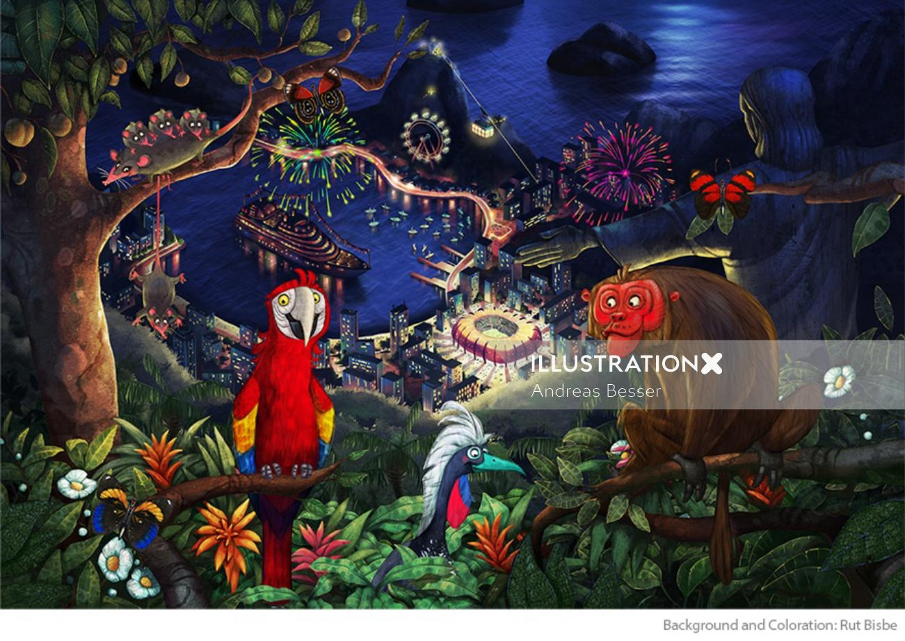 Character design of animals meeting in forest