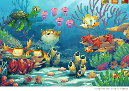 Illustration of underwater animals