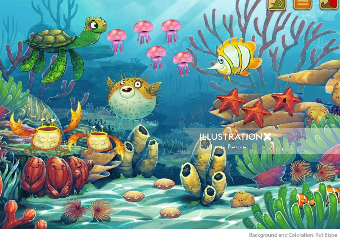 Illustration of underwater animals