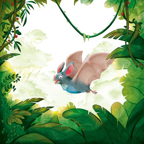 Digital illustration of a happy flying bat