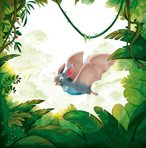 数码插画的快乐的蝙蝠