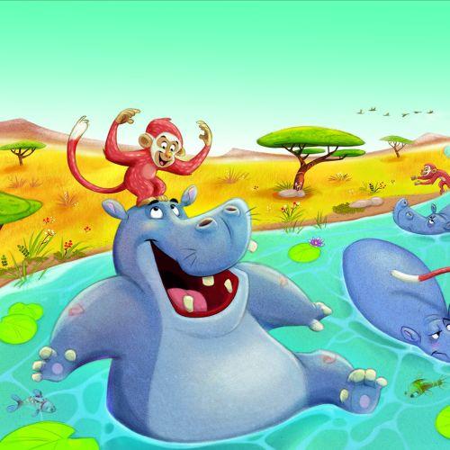 Digital illustration of Hippo in the river