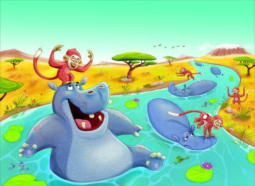 数码插画的河马在河里