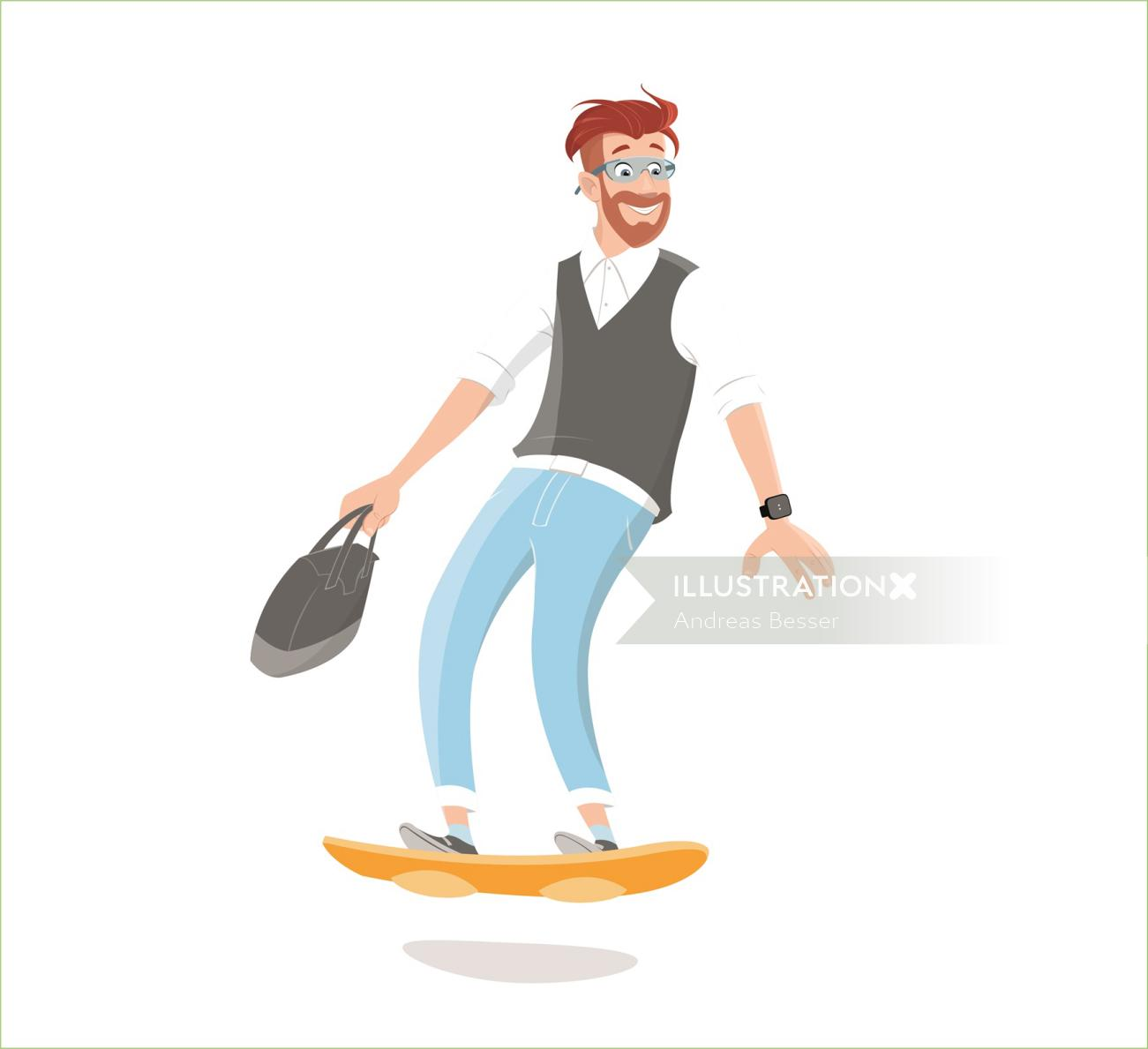 Business man surfing on board