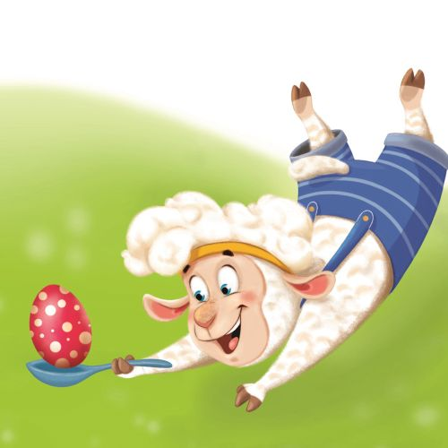 character design sheep catching egg