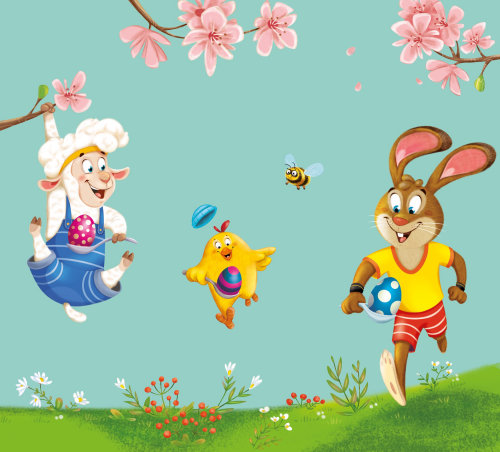 Character design animals playing