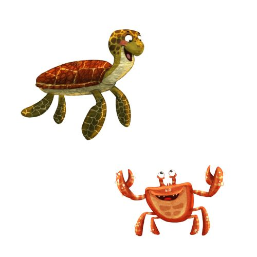 cartoon characters of turtle and crab