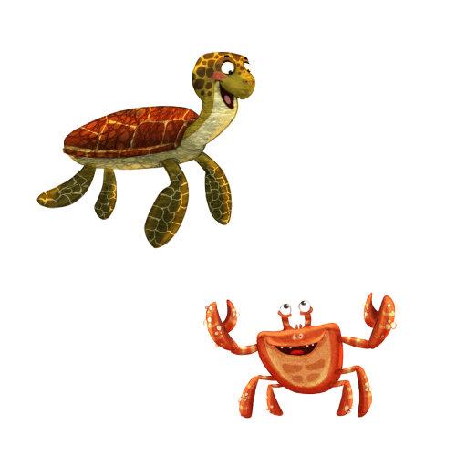龟和蟹的卡通人物