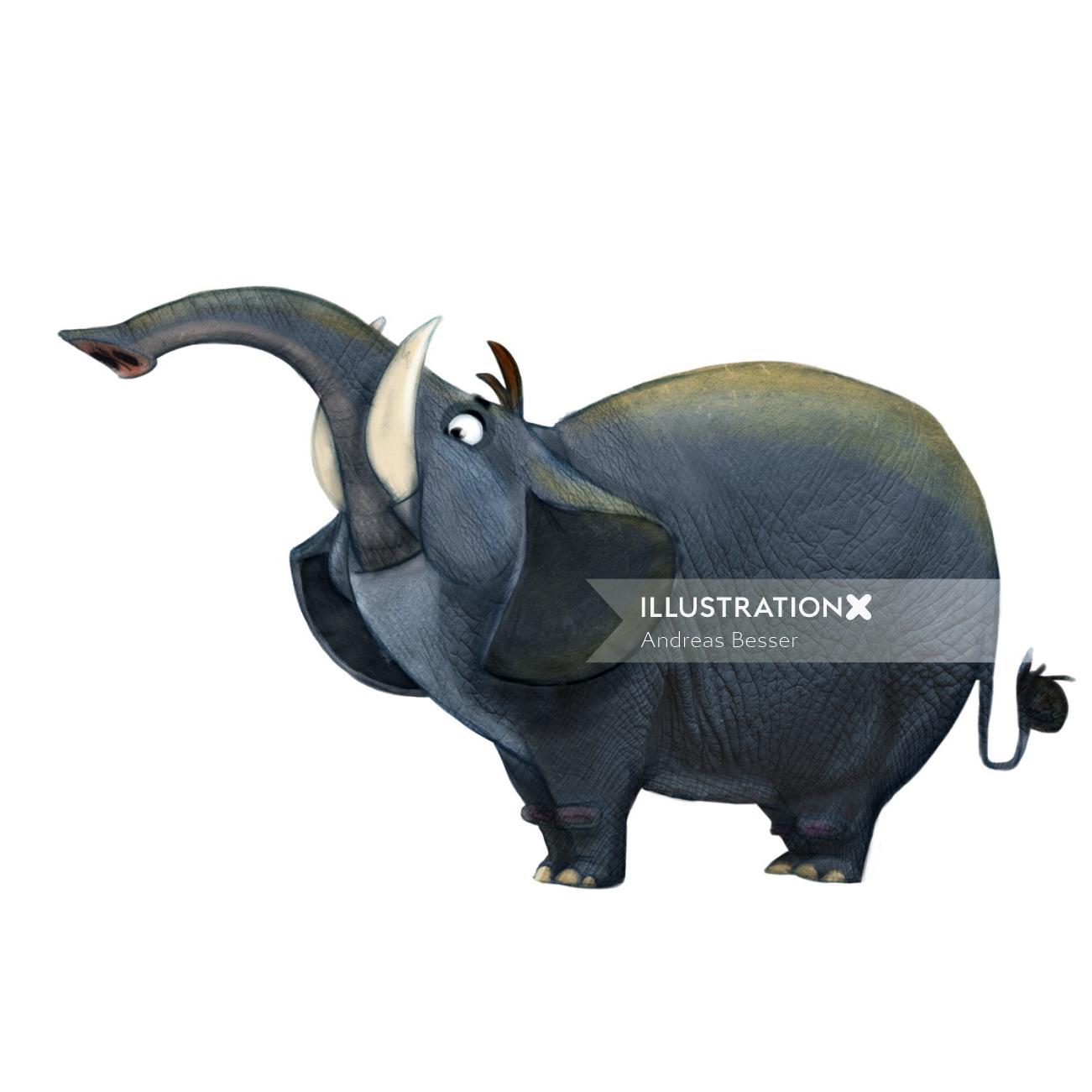 photorealistic illustration of elephant