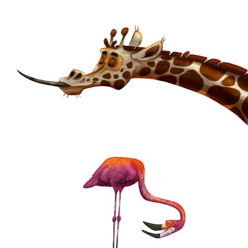 长颈鹿和起重机的动物插图