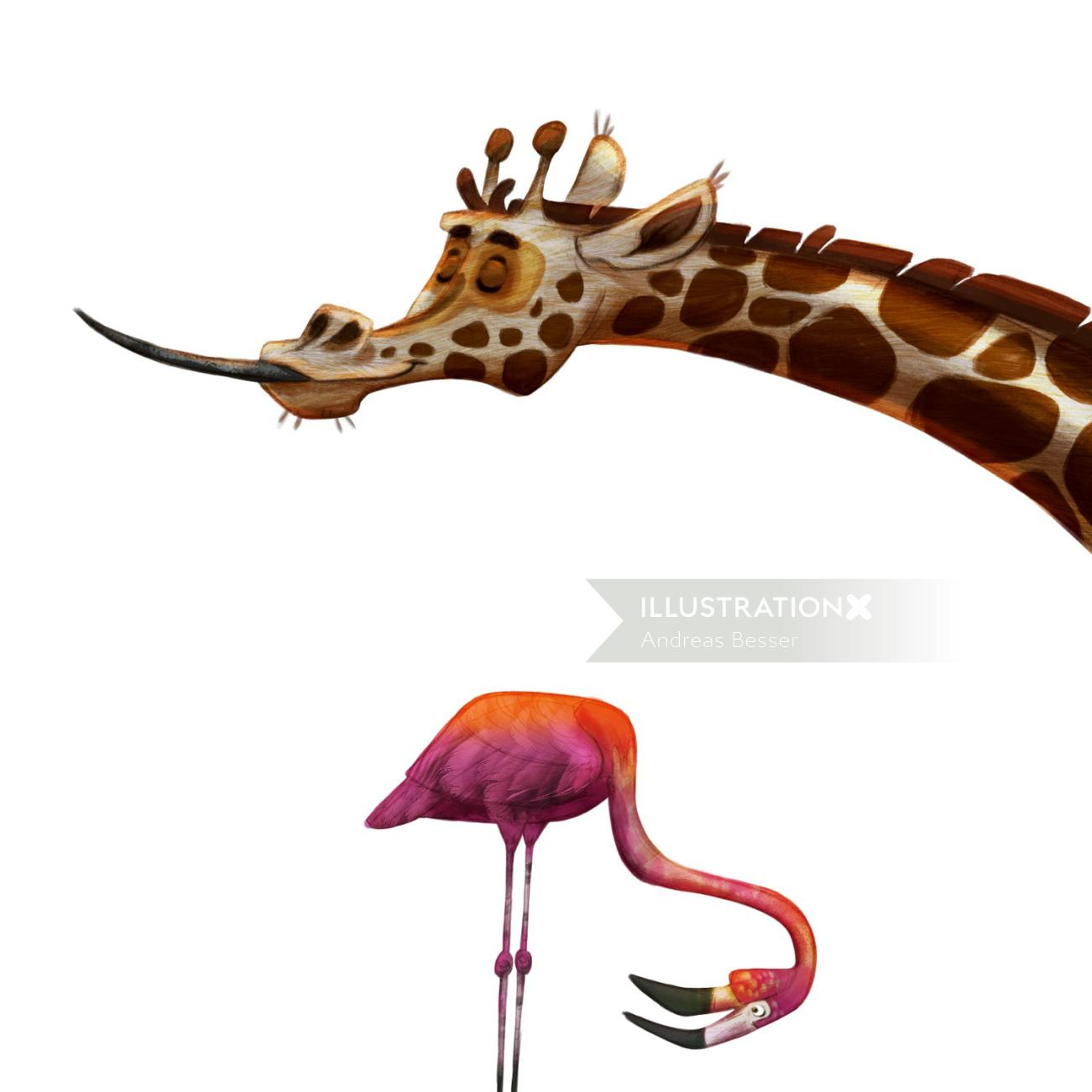Animal illustration of Giraffee and crane