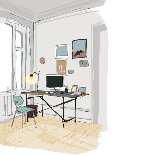 Editorial illustration of work place