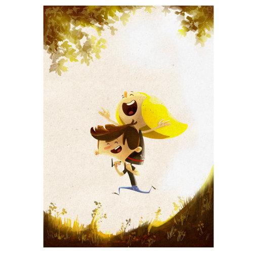 卡通与男孩的幽默与鸟
