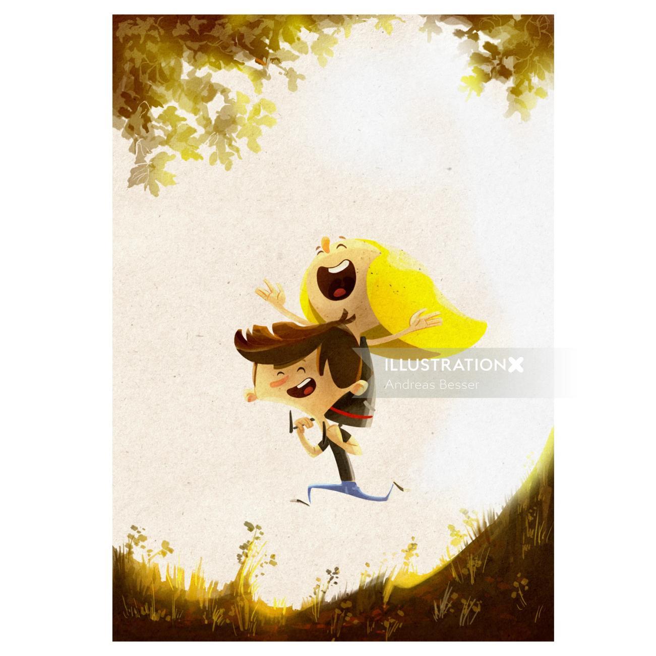 Cartoon & humour of boy with bird