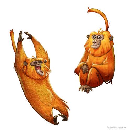cartoon illustration of monkeys