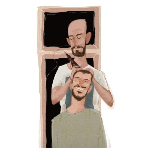 男子理发的漫画艺术