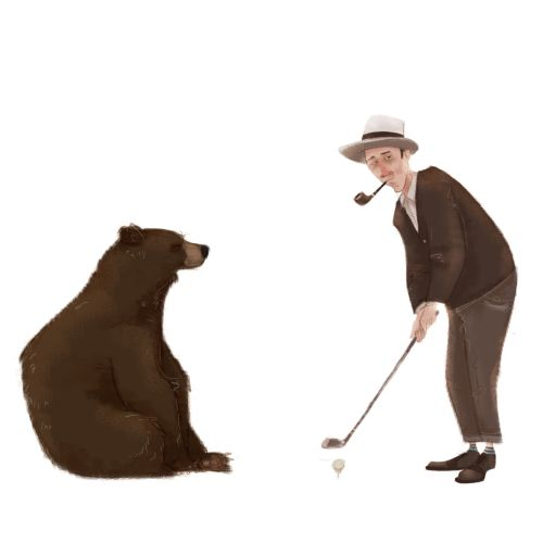 Illustration of bear with man playing golf