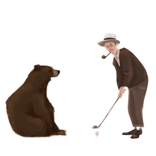 熊与男人打高尔夫球的插图