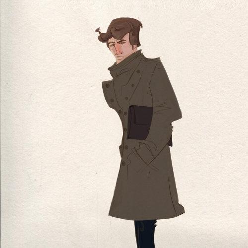 穿着大衣的男人的角色设计