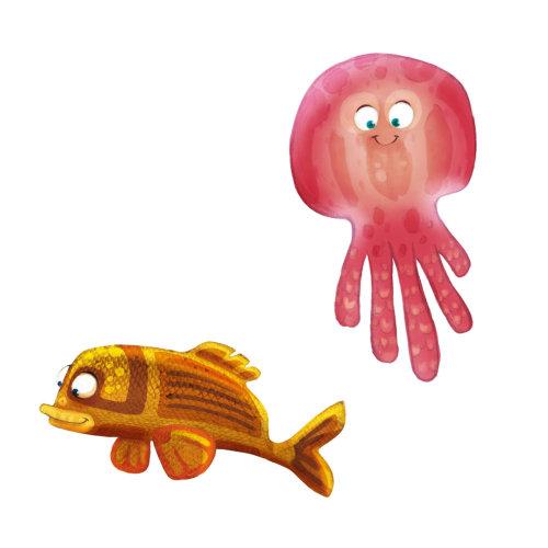 水母和金鱼的动物卡通设计