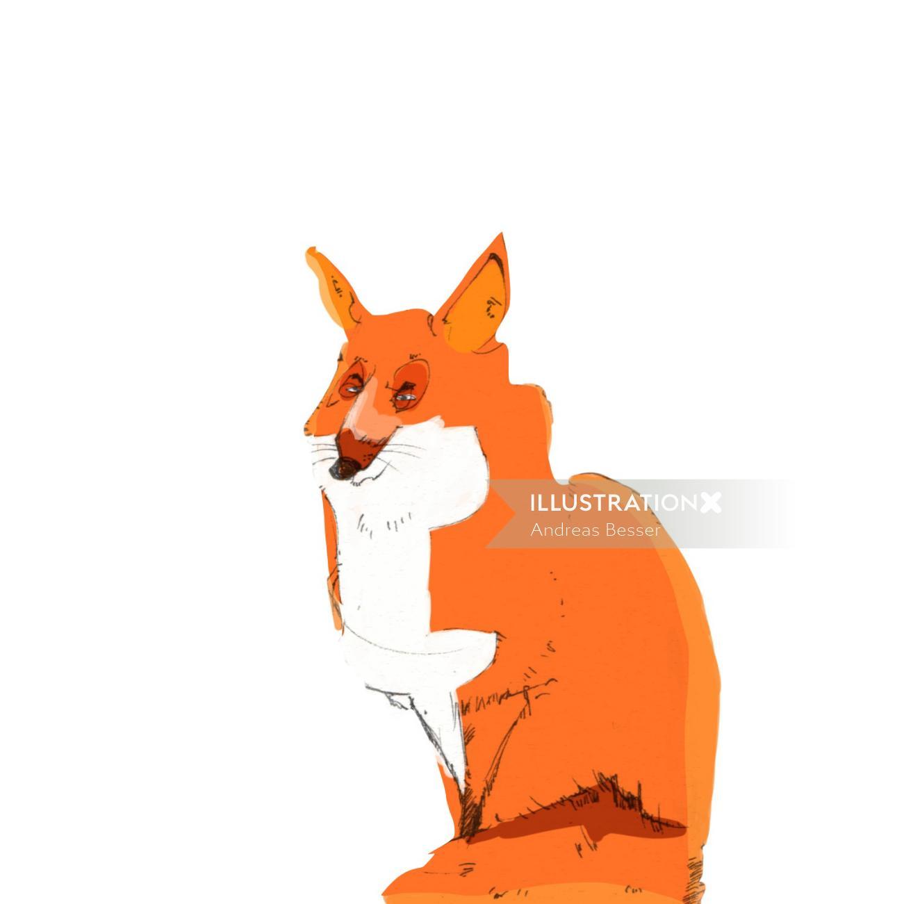 Cartoon illustration of red fox