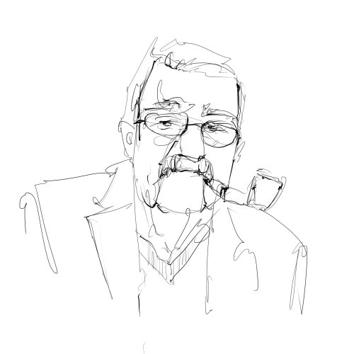 potrait line illustration of a man with pipe