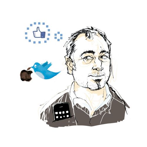 Cartoon illustration of a man thinking