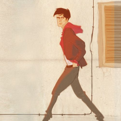 illustration of a young boy walking