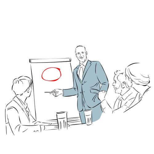 Line illustration of business meeting