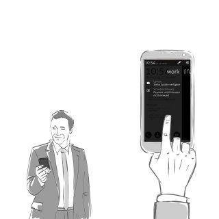 Character illustration of Businessman using smartphone