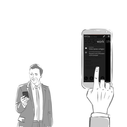 Character illustration of Businessman using smartphone