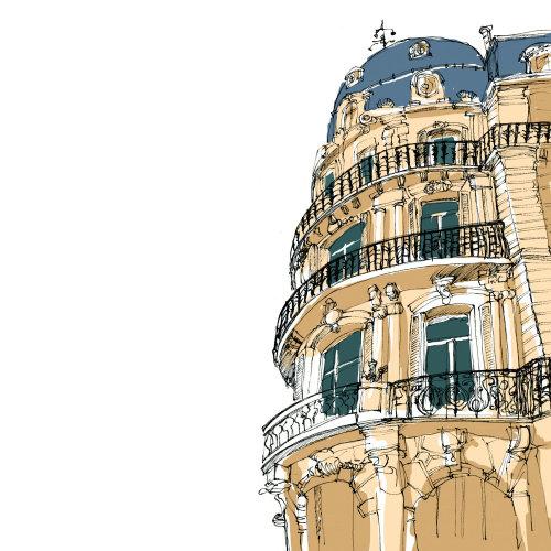 Architecture illustration of city palace