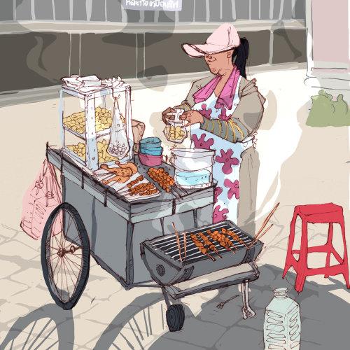 女人与移动快餐中心的插图