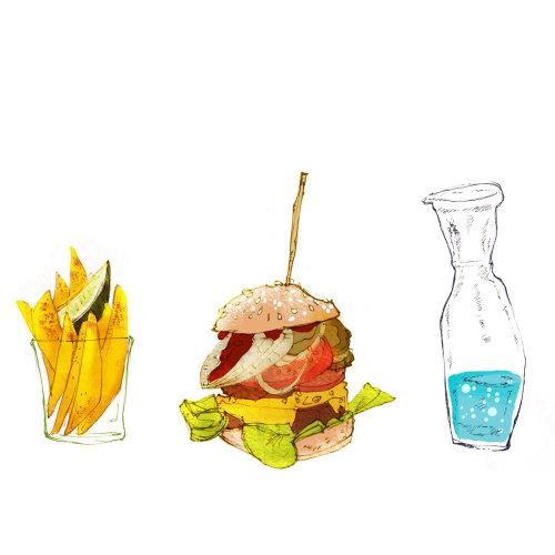 Food illustration Burgers, fries and soda