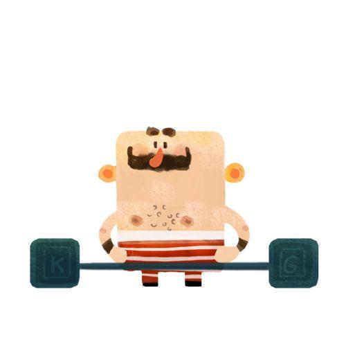 cartoon animation of weight lifting