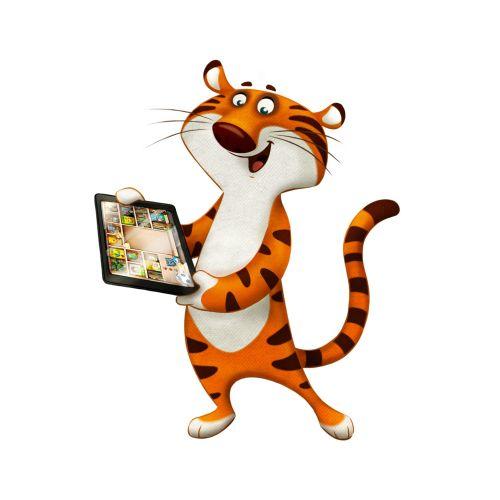 Cartoon animation of Happy Tiger