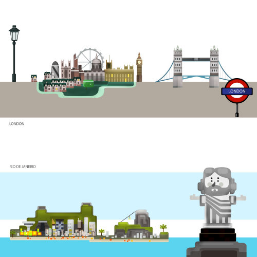 Illustration of London bridge and statue in sea