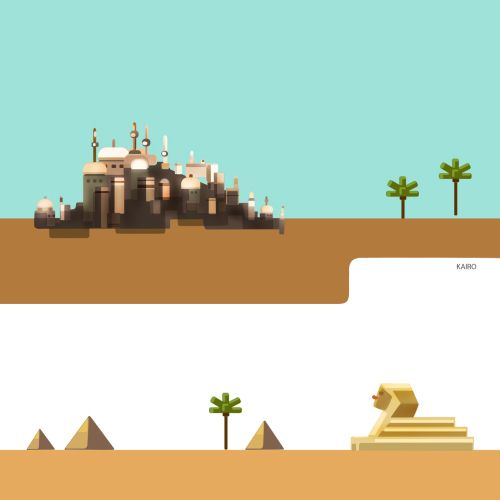 Illustration of city in desert