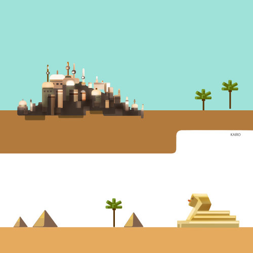 在沙漠中的城市的插图
