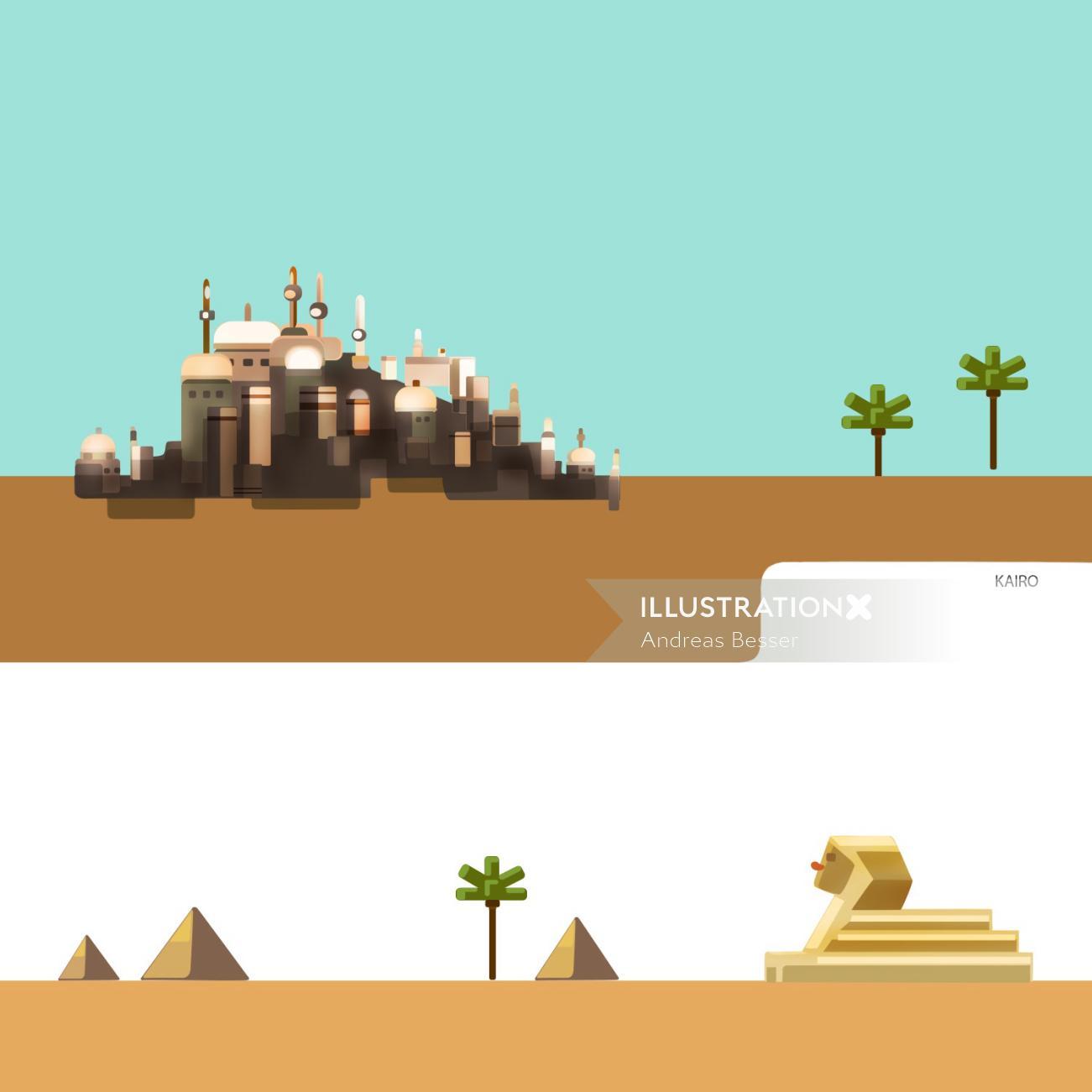 Illustration of city in desert