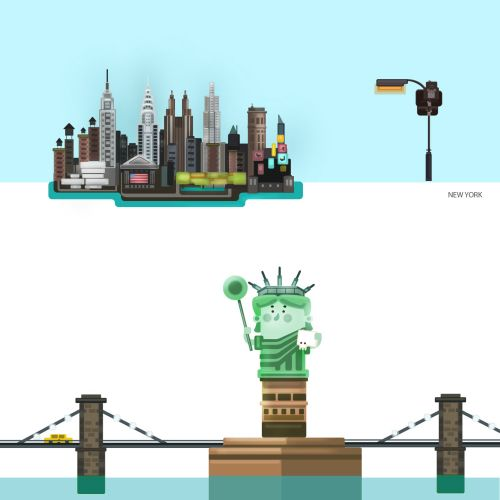 Illustration of City with statue of liberty