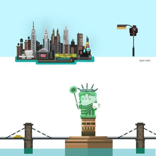 自由女神像的城市插图