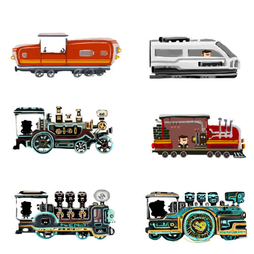 Technical illustrations of Train engines