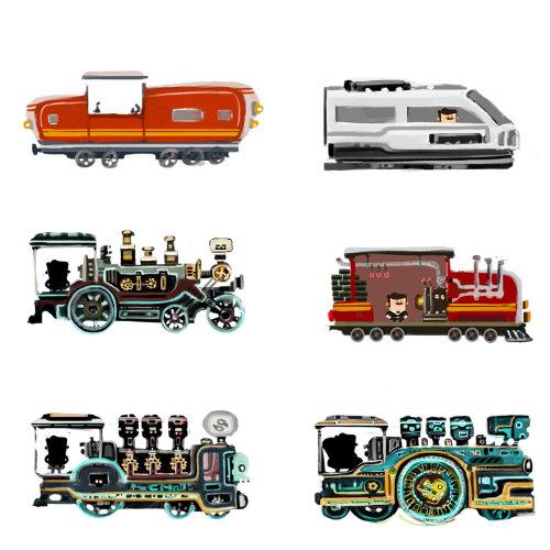 火车引擎的技术插图