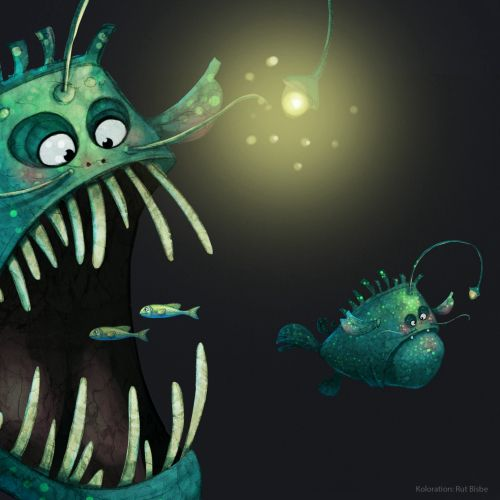 Illustration of scary fish