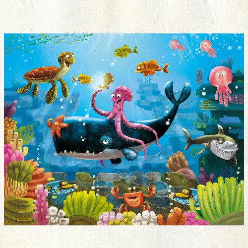 章鱼坐在鲸鱼上的插图