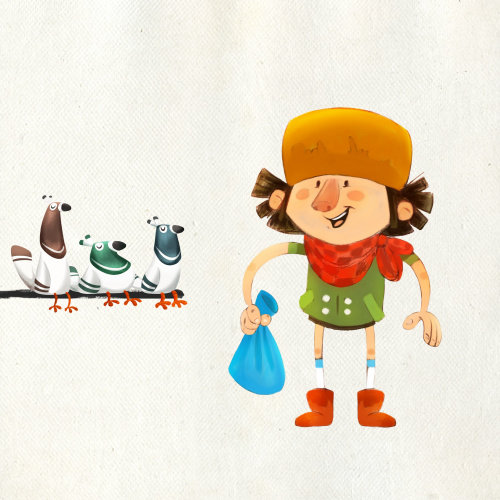 character design of a man with ducks