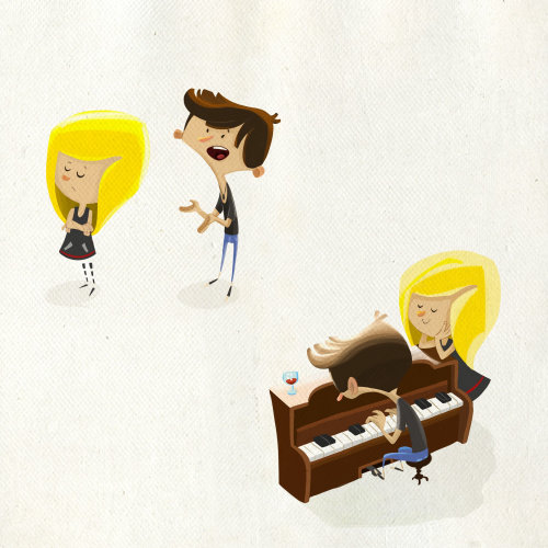 Illustration of people with piano